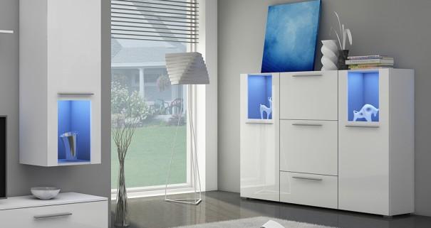 Biała komoda z niebieskim podświetleniem
