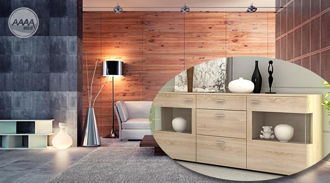 Modna komoda w salonie ciepły odcień drewna