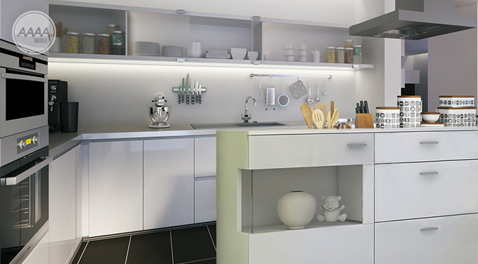 Biała komoda w kuchni w roli wyspy kuchennej