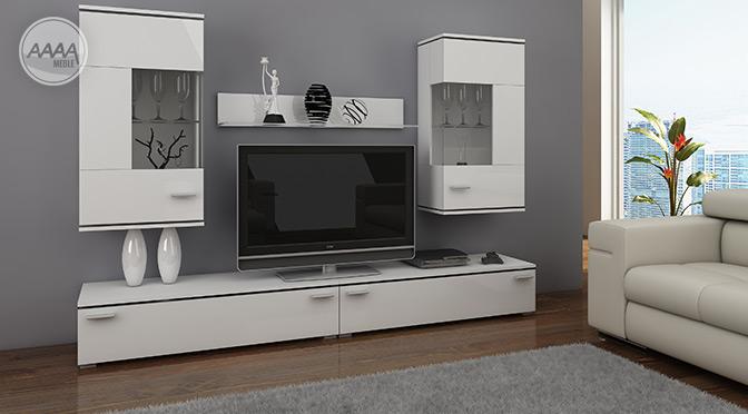 Witryna wisząca w minimalistycznym salonie