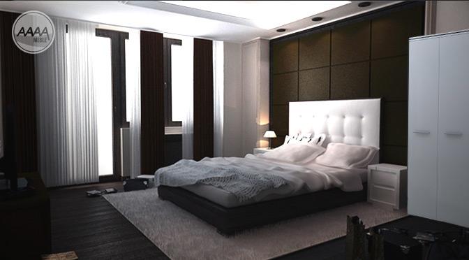 Stylowa sypialnia z nowoczesną szafą
