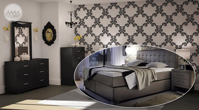 Oryginalna aranżacja sypialni z łóżkiem Boxspring