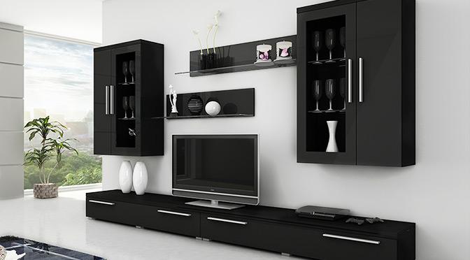 Czarne meble do salonu na tle białej ściany