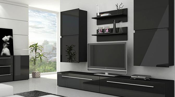 nowoczesne meble do salonu minimalistyczne czarne meble