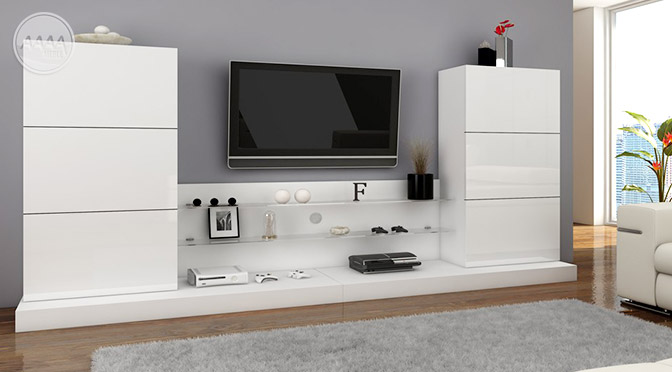 Białe minimalistyczne meble do salonu