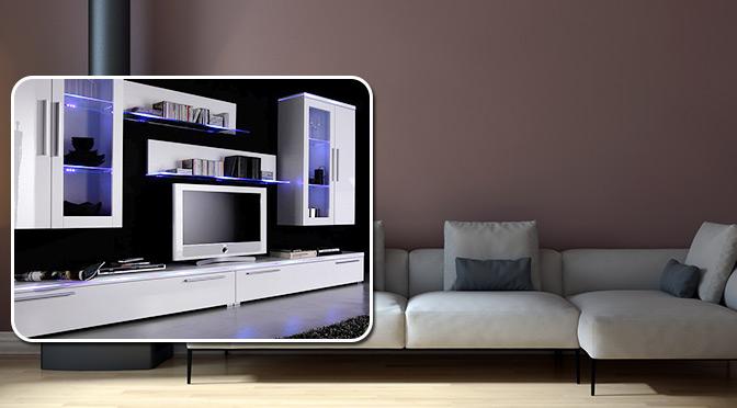 Białe meble do salonu z oświetleniem LED