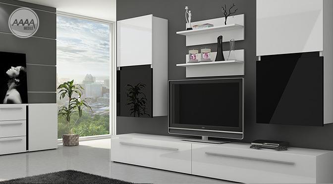 Czarno-białe meble w salonie