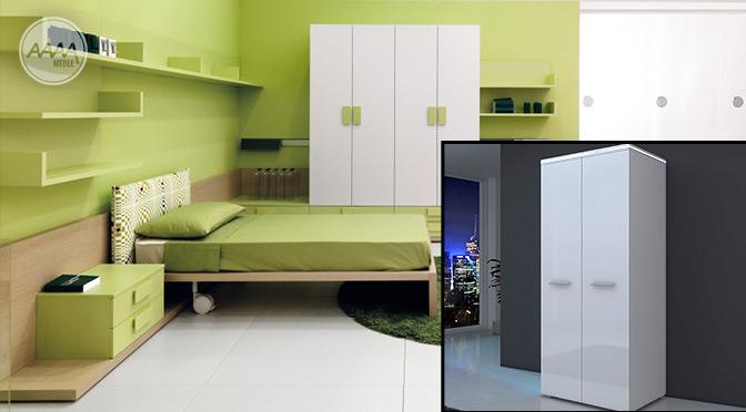 białe meble w sypialni zielone ściany
