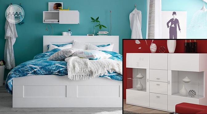 Sypialnia z białymi meblami i turkusowymi ścianami