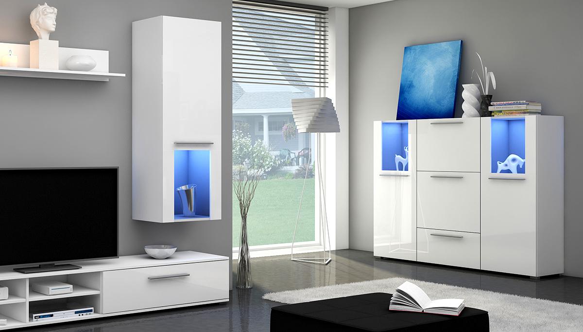 Biała komoda z oświetleniem LED w salonie
