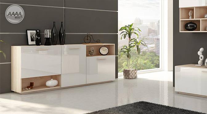Biała komoda w skandynawskim stylu w salonie