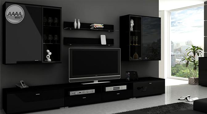 Czarna meblościanka w nowoczesnym salonie