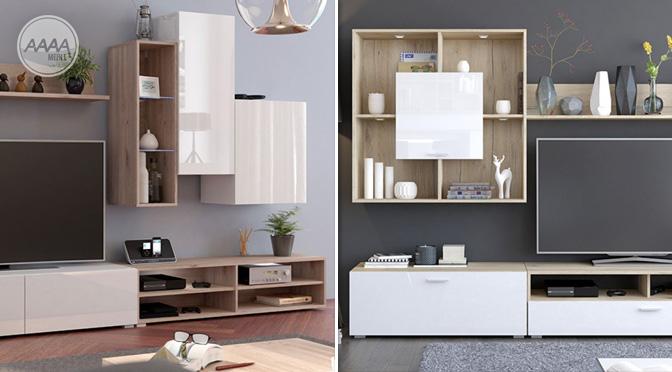 Białe meble z drewnem nowość