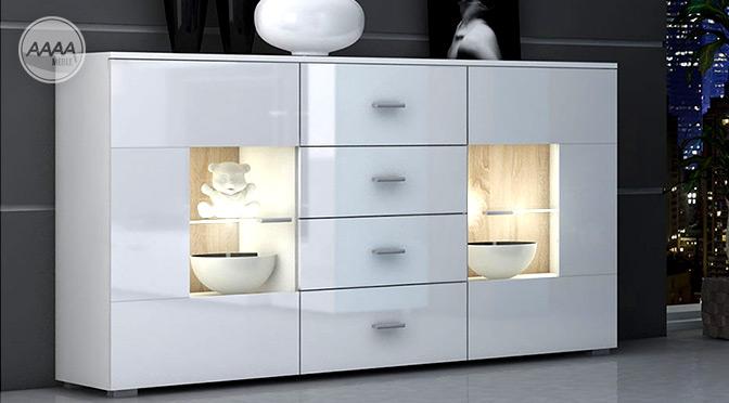 Białe komody pokojowe – wysoki połysk, nowoczesny design